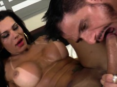 Busty TS Nathany gets her dick sucked