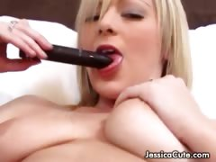 Seriously hot blonde babe plays with herself and sucks toy