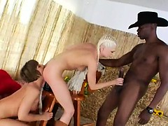 Brutal bum threesome with cowboy