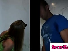 Girl tricking straight guy into gay blowjob at gloryhole