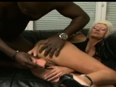 blonde horny granny on a huge black cock