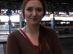 Helen flashes her big tits and fucked in the bus station