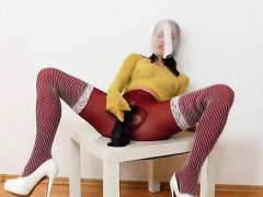 Leony Aprill nylon mask distorted gorgeous face